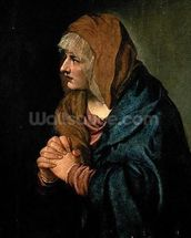 The Madonna of Sorrows (oil on canvas) mural wallpaper thumbnail
