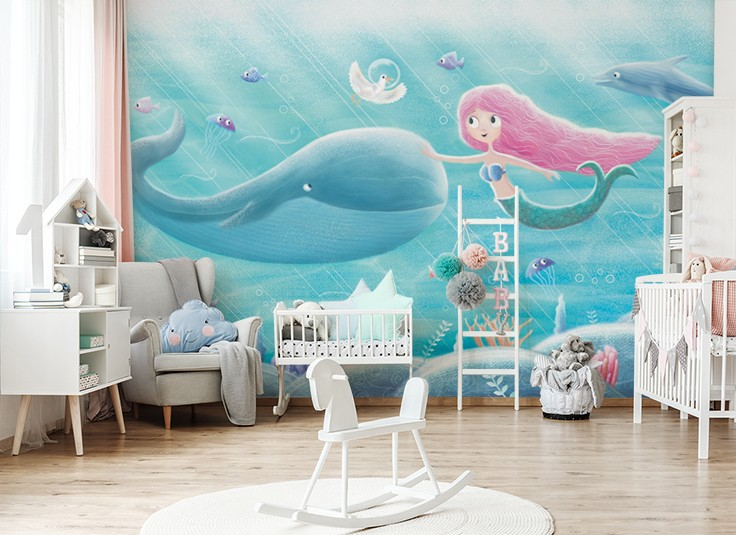 painting of mermaid with whale friend wallpaper in baby's nursery
