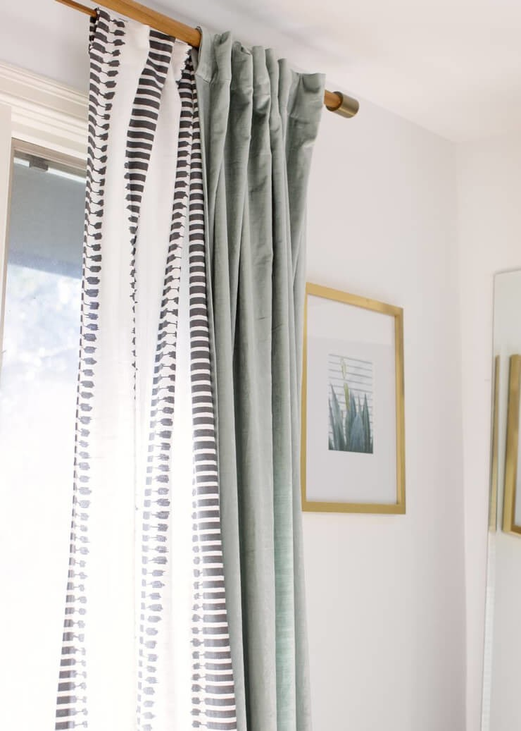 layered sage green and black and white tribal curtains