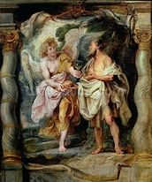The Prophet Elijah and the Angel in the Wilderness, c.1626-28 (panel) mural wallpaper thumbnail