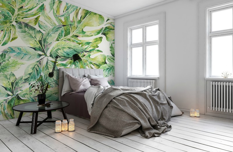 tropical-palm-print-wallpaper-guest-bedroom