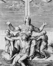 Pieta, engraved by Giulio Bonasone, 1556 (engraving) mural wallpaper thumbnail