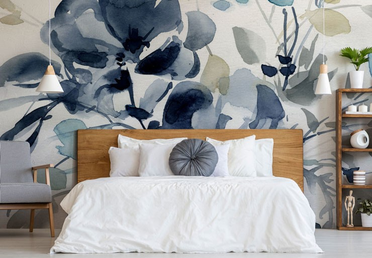 blue floral watercolour wallpaper in sophisticated master bedroom