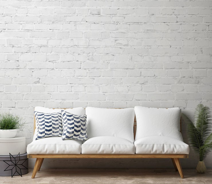 minimalist white brick wallpaper in trendy lounge