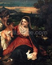 Madonna and Child with St. Catherine (The Virgin of the Rabbit) c.1530 (oil on canvas) mural wallpaper thumbnail