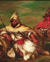 Moroccan soldier sitting near his horse, 1845 (oil on canvas) wallpaper mural thumbnail