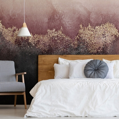 abstract pink mural in bedroom