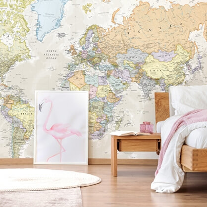 map wallpaper by Lovell Johns in bedroom