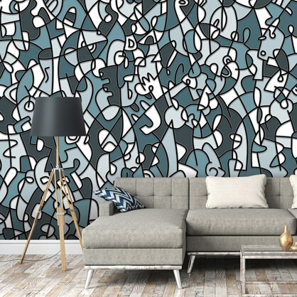blue abstract wallpaper in grey living room