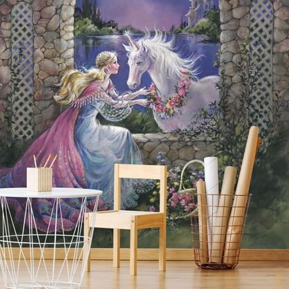 unicorn and fairy wallpaper in girls bedroom