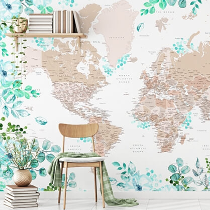 floral map mural in home study