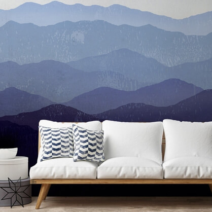 blue mountain mural in living room