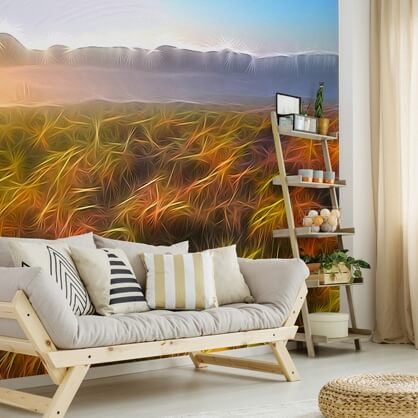 abstract landscape wallpaper in living room