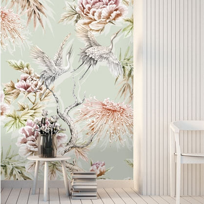 pastel floral chinoiserie birds wallpaper with birds by Tashi Tsering
