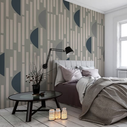 grey and blue abstract wallpaper in grey bedroom