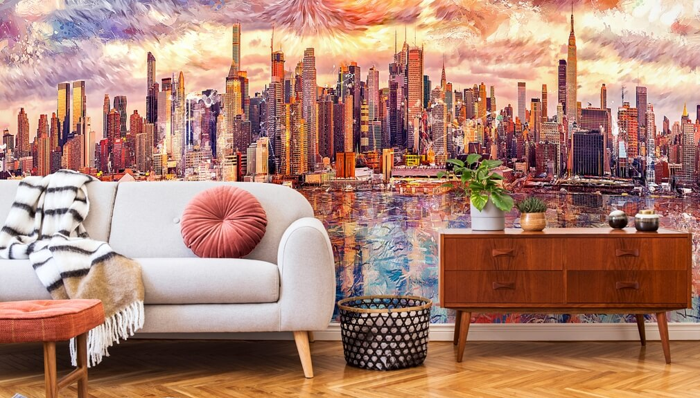 cityscape mural in living room Tenyo Marchev
