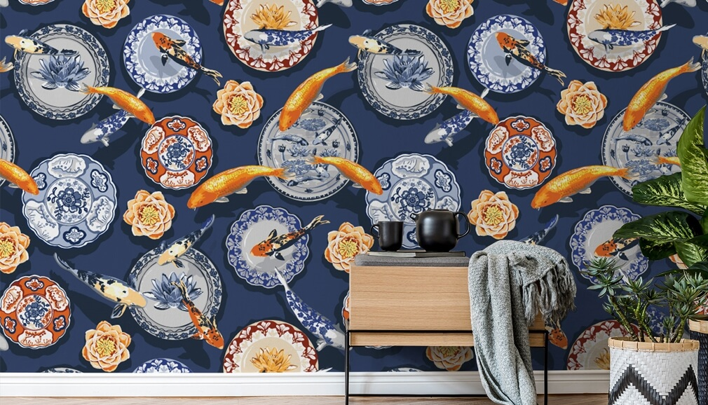 koi fish and oriental plates pattern wallpaper