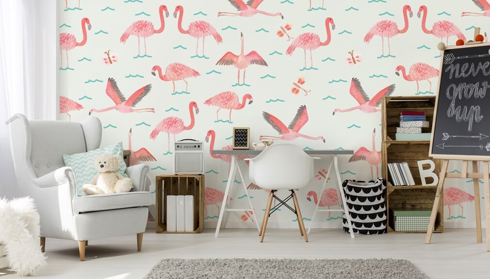 flamingo pattern wallpaper in kids room