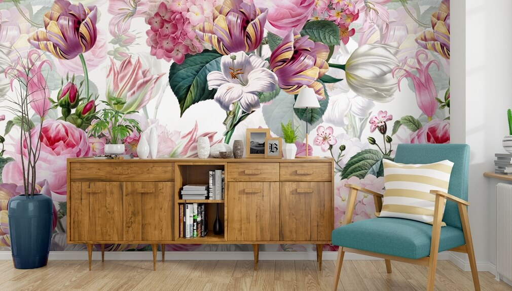 floral mural in living room