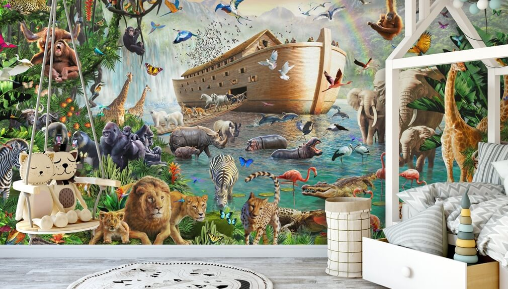 Noah's ark wall mural in kids bedroom