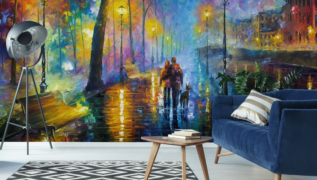 wallpaper by Leonid Afremov in living room with blue sofa