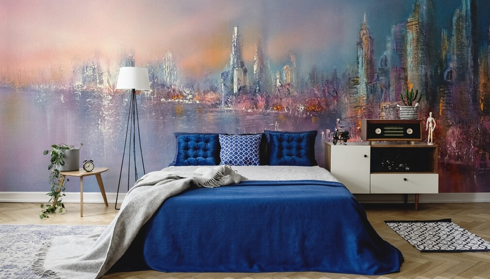 contemporary wallpaper in bedroom with blue bedding