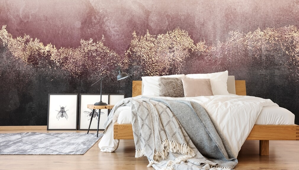 abstract wallpaper in bedroom