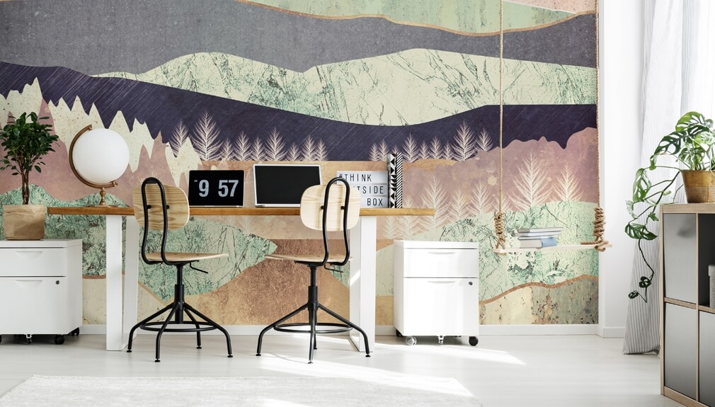 mountain wallpaper by SpaceFrog Designs in teen bedroom