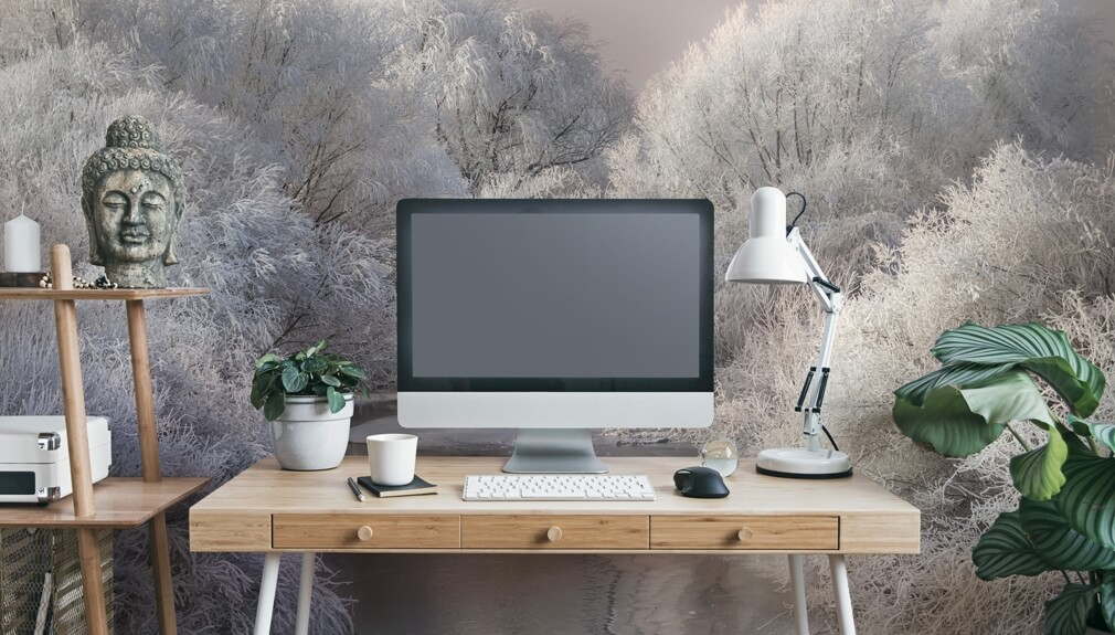 white forest wall mural in home office