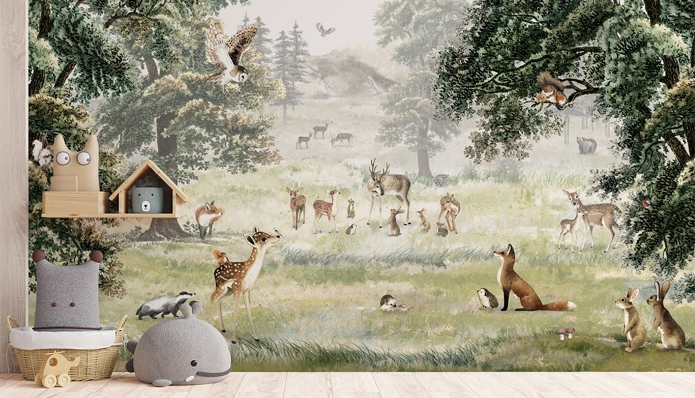 woodland animal wallpaper