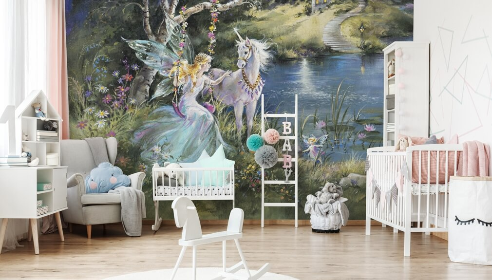 magical unicorn and fairy wallpaper in girls bedroom