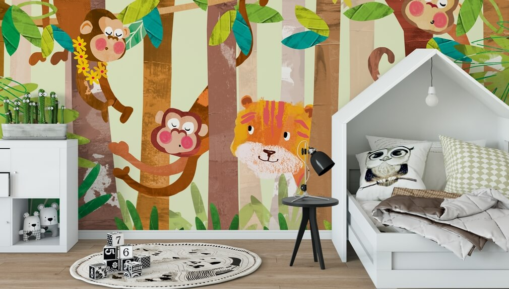 kids cartoon animal wallpaper in bedroom
