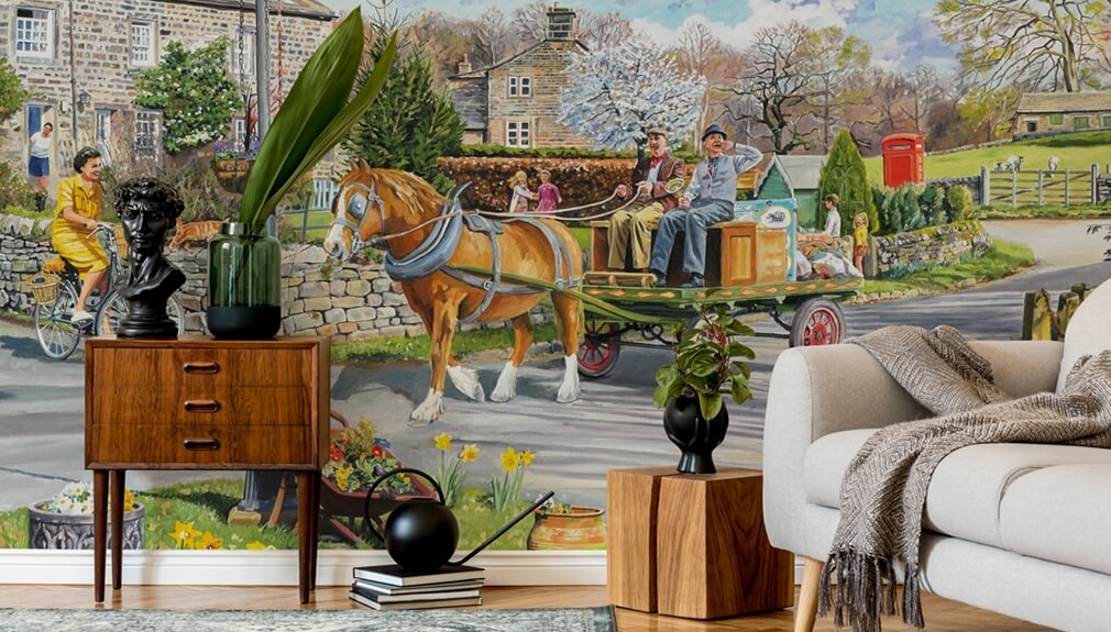 horse pulling cart mural in living room