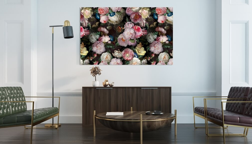 floral metal print in living room