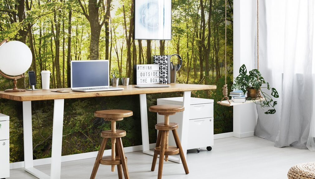 forest mural in home office