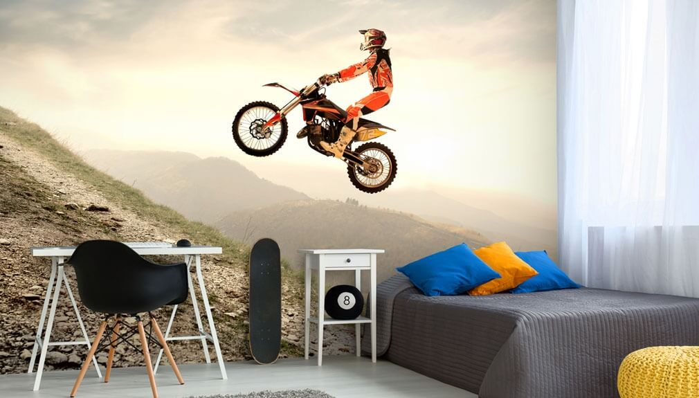 motocross wallpaper in boys bedroom