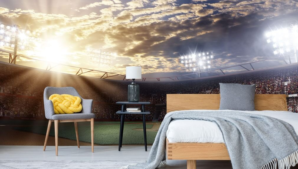 sports wallpaper in bedroom