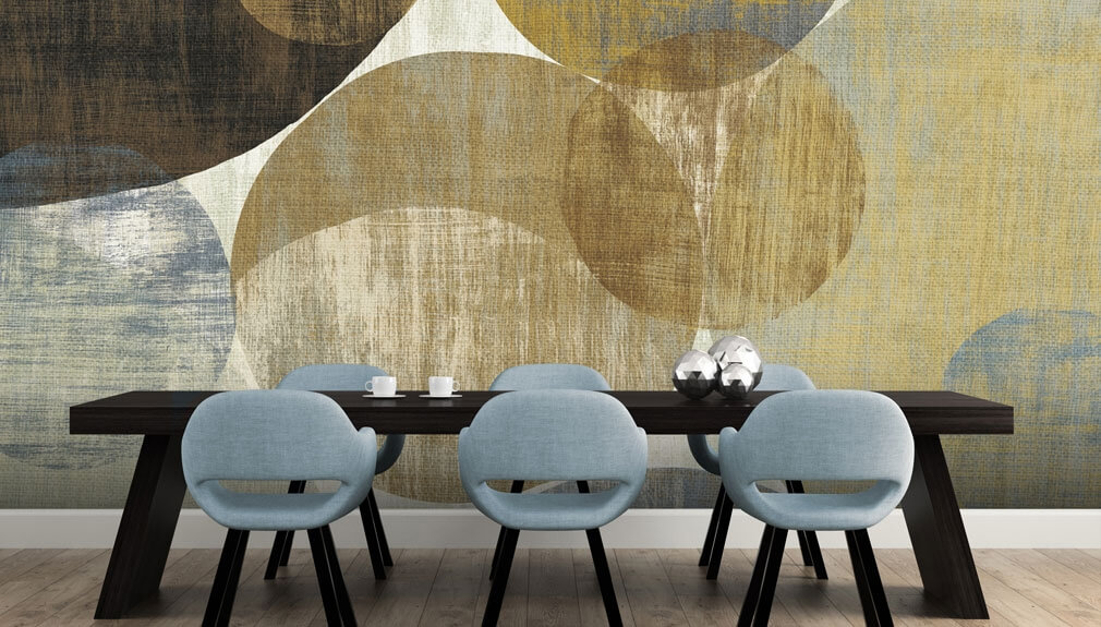 neutral circle wallpaper in dining room