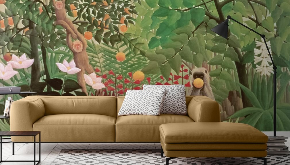 Henri Rousseau wallpaper in living room