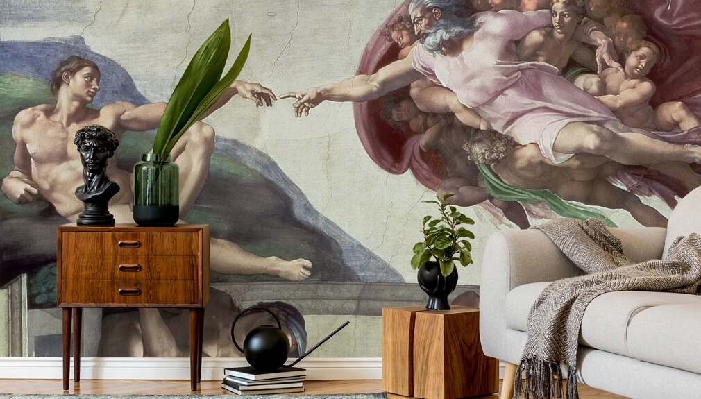 Sistine Chapel wallpaper in living room