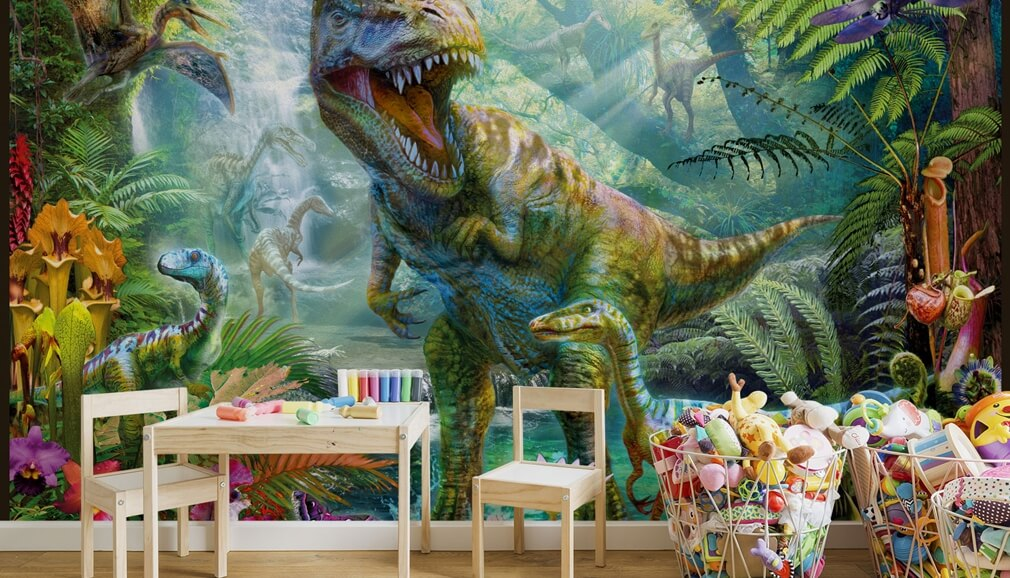 dinosaur wallpaper in boys bedroom