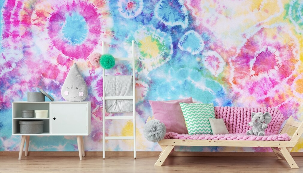 tie dye wallpaper in girls bedroom