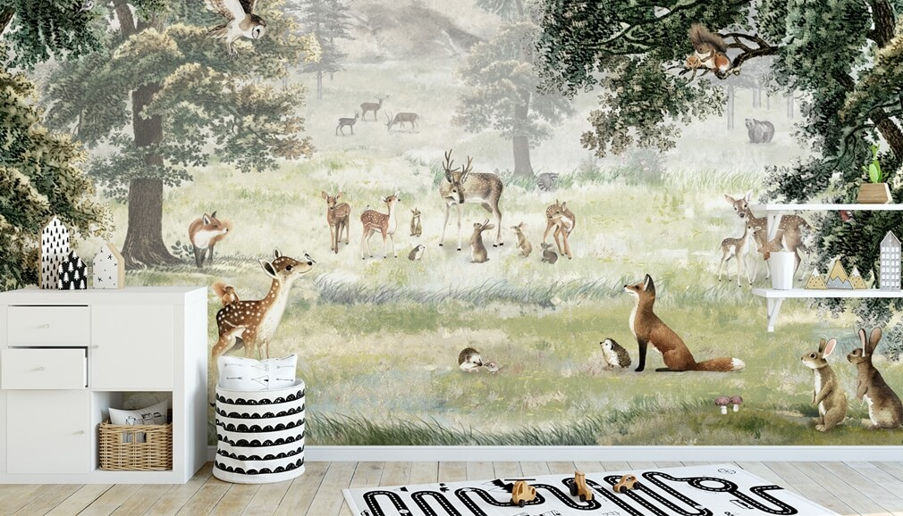 kikki belle woodland animals wallpaper