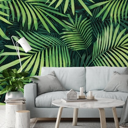 leaf wallpaper in living room with grey sofa