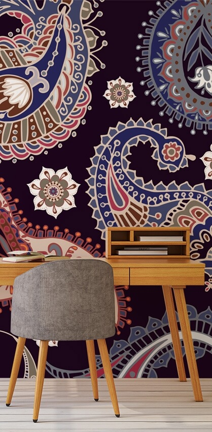 paisley wallpaper in home office