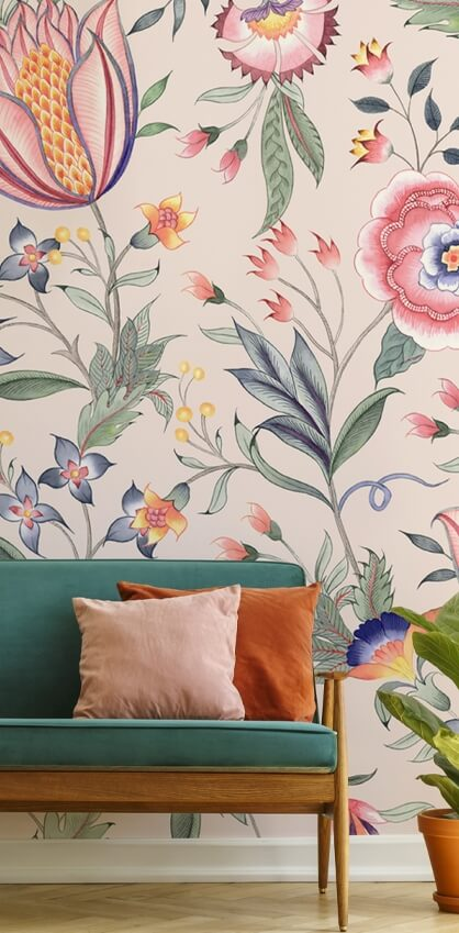 chinoiserie floral wallpaper in living room