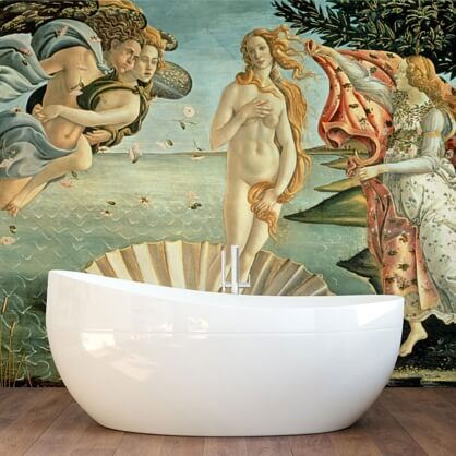 Sandro Botticelli wallpaper in bathroom