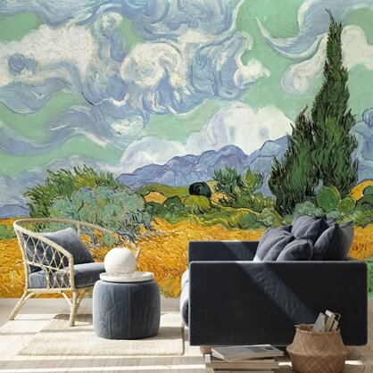 Vincent Van Gogh mural in living room