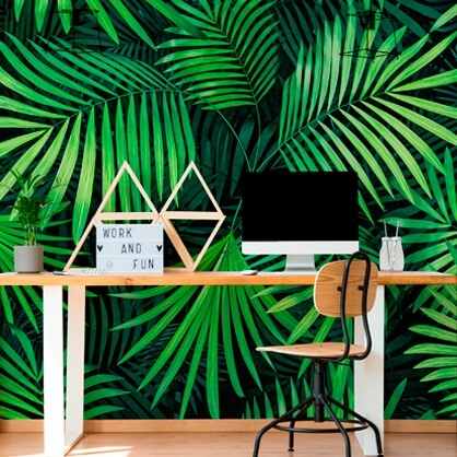 green leaf wallpaper in home study