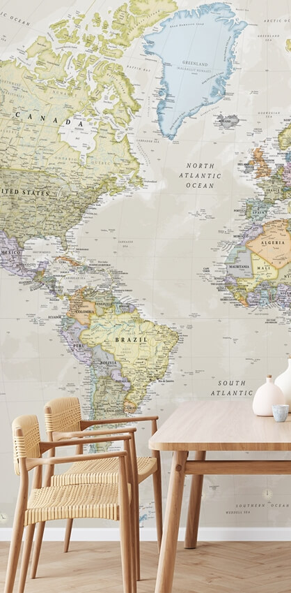 map mural in dining room